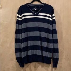 NWT Nautica Men's Wool V-Neck Striped Sweater XL